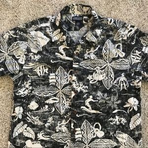 Lands End Hawaiian Black and white shirt Large